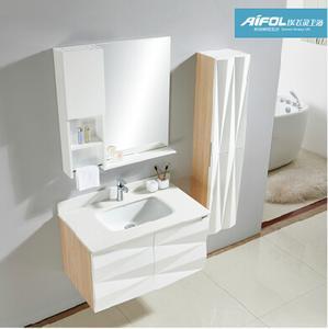 埃飞灵实木浴室柜组合 现代简约浴室置物柜镜子边柜组合