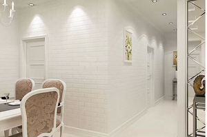 加厚纯白文化砖纹墙纸