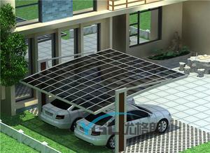 供应高品质别墅车棚 铝合金车棚 双立柱双车位车棚