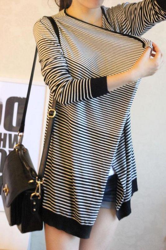女装韩版条纹大码不规则针织衫女开衫外套 秋装1126#图片二