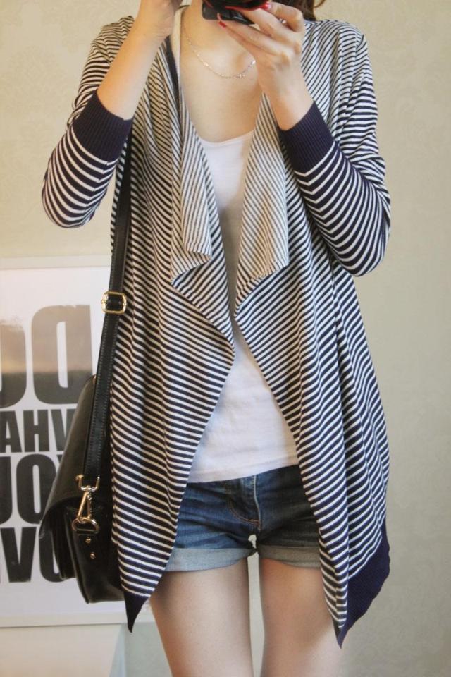女装韩版条纹大码不规则针织衫女开衫外套 秋装1126#图片四