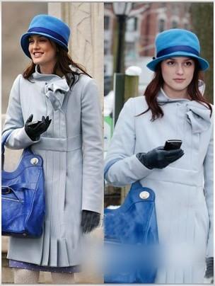 灰白妮子外套结合深蓝帽子