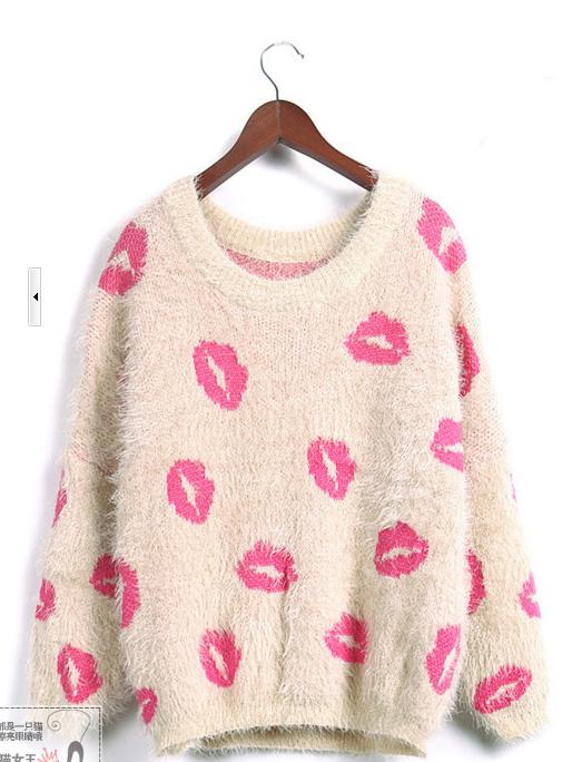 秋冬新款韩版圆领套头长袖外套 红唇毛海毛针织衫毛衣图片七