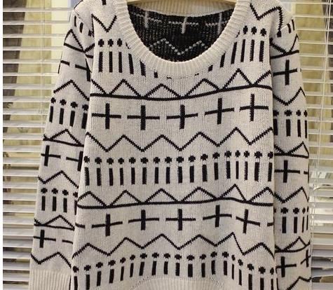 新款韩版秋冬女装中长款毛衣欧美十字针织衫毛衫图片二