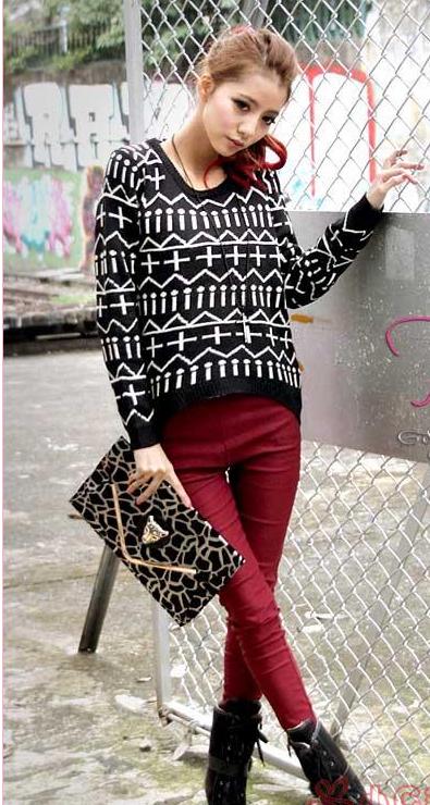 新款韩版秋冬女装中长款毛衣欧美十字针织衫毛衫图片三