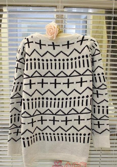 新款韩版秋冬女装中长款毛衣欧美十字针织衫毛衫图片五