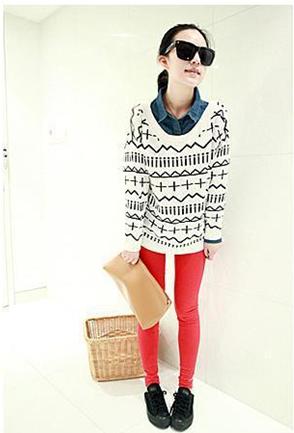 新款韩版秋冬女装中长款毛衣欧美十字针织衫毛衫图片十