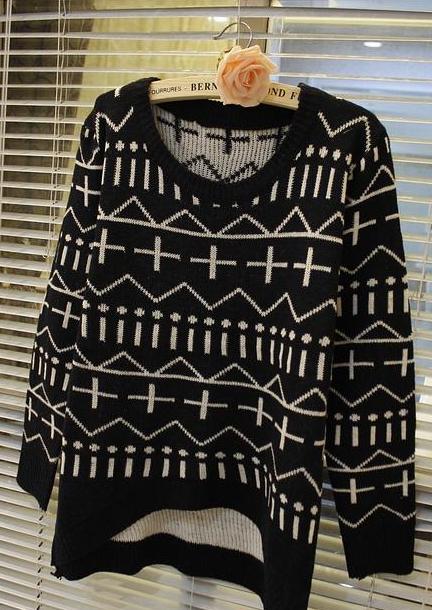 新款韩版秋冬女装中长款毛衣欧美十字针织衫毛衫图片一