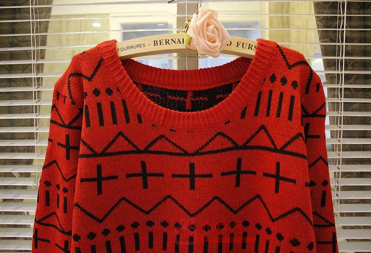 新款韩版秋冬女装中长款毛衣欧美十字针织衫毛衫图片六