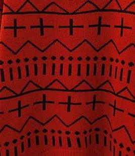 新款韩版秋冬女装中长款毛衣欧美十字针织衫毛衫图片八