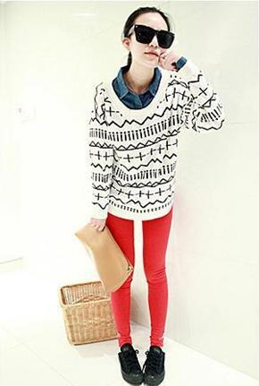 新款韩版秋冬女装中长款毛衣欧美十字针织衫毛衫图片九