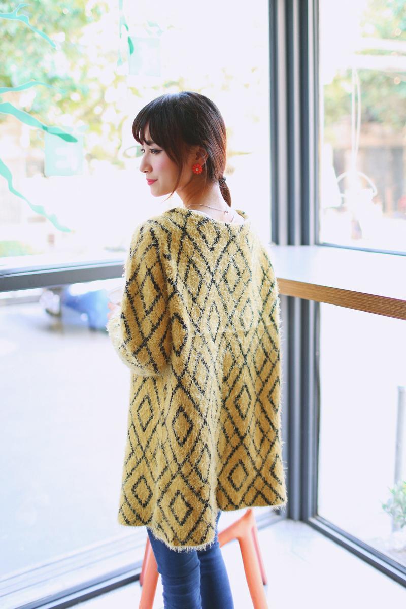 秋装女装新款韩版中长款圆领马海毛针织衫开衫图片九