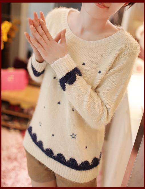 日系甜美小清新毛衣毛韩版宽松打底套头衫图片八