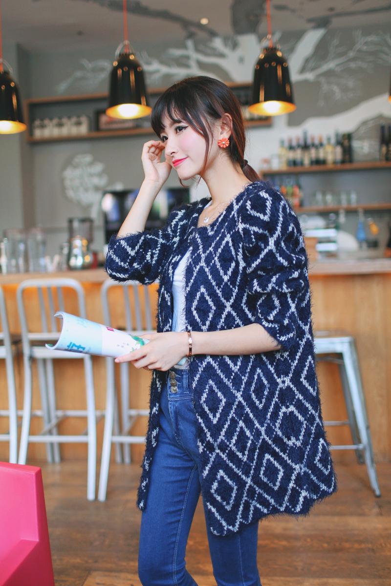 秋装女装新款韩版中长款圆领马海毛针织衫开衫图片十