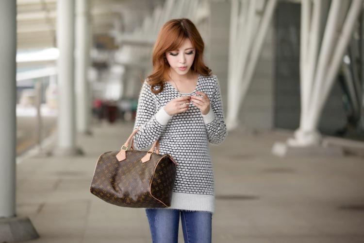 秋冬新款韩版中长款圆点马海毛针织衫毛衣图片六