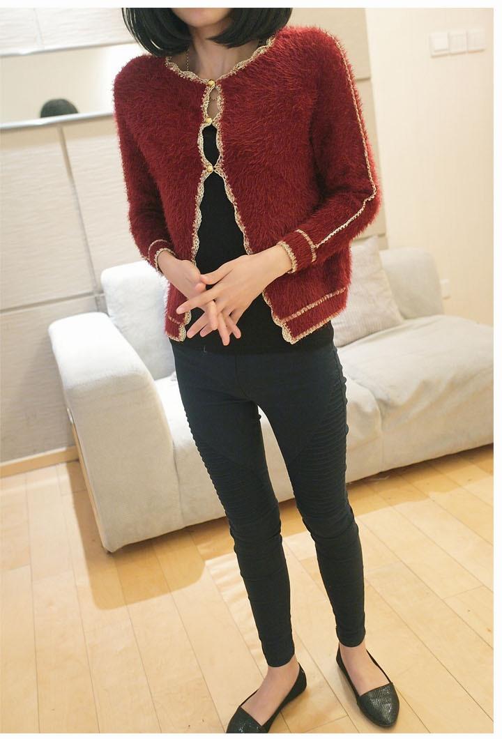 秋冬女装韩版开衫金丝边马海 毛毛衣外套 针织衫图片二