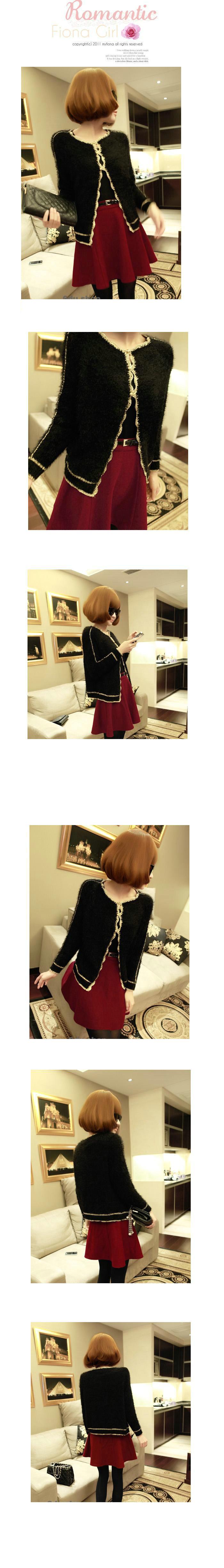 秋冬女装韩版开衫金丝边马海 毛毛衣外套 针织衫图片五