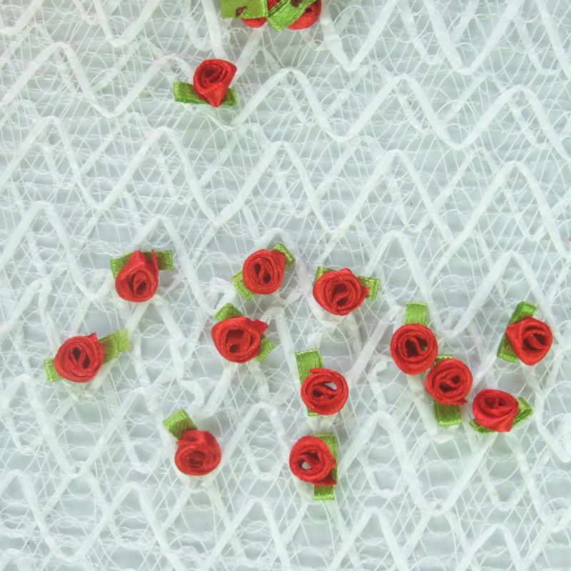 大量供应 织带小花 带叶玫瑰花 可来样加工图片二
