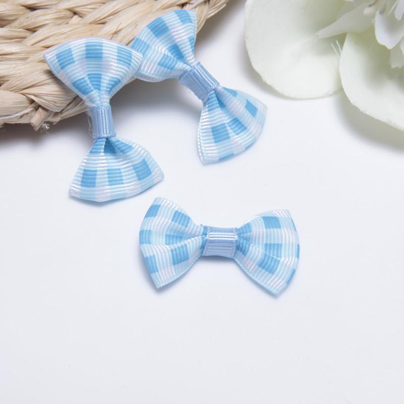 2.5cm两色印刷格子罗纹带小领结 印花小领结图片四