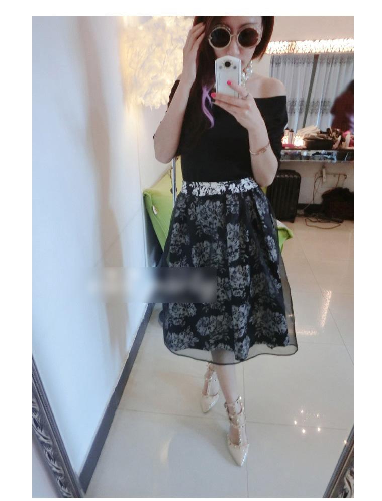 2014韩版欧根纱连衣裙 夏季女装新款两件套短袖裙子B353图片二