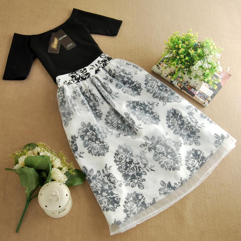 2014韩版欧根纱连衣裙 夏季女装新款两件套短袖裙子B353图片六
