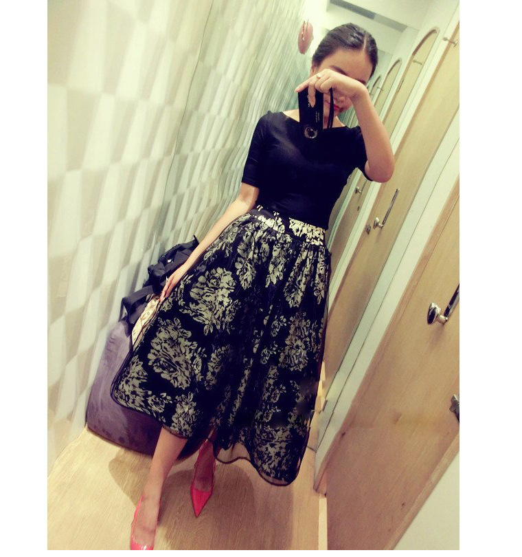 2014韩版欧根纱连衣裙 夏季女装新款两件套短袖裙子B353图片一