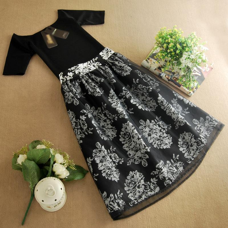 2014韩版欧根纱连衣裙 夏季女装新款两件套短袖裙子B353图片五