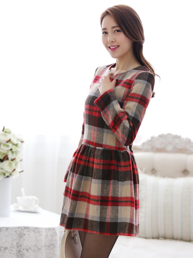 2014韩版女装 新款全棉格纹品牌长袖春装连衣裙批发B320图片二