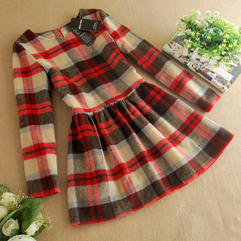 2014韩版女装 新款全棉格纹品牌长袖春装连衣裙批发B320图片四
