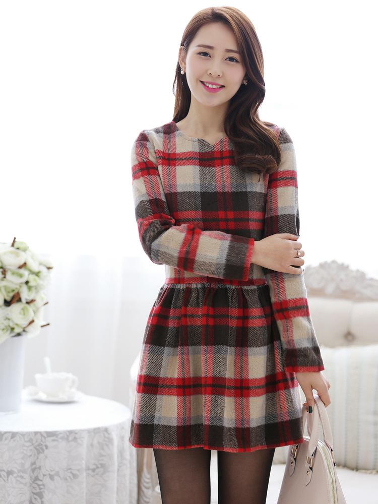 2014韩版女装 新款全棉格纹品牌长袖春装连衣裙批发B320图片一