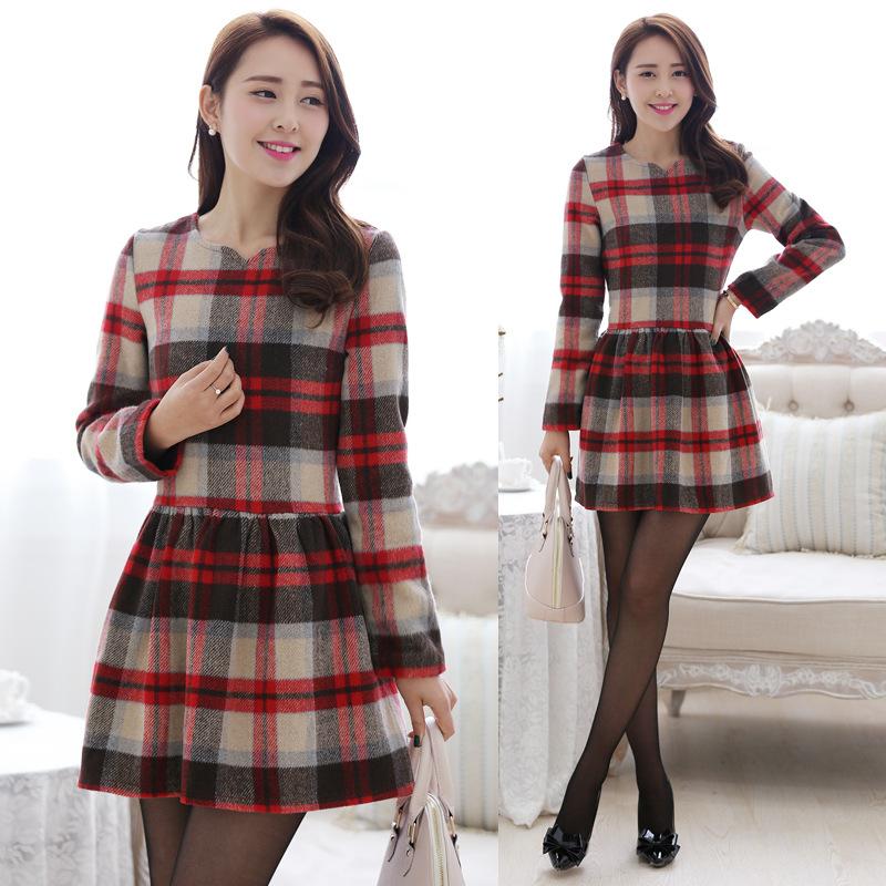 2014韩版女装 新款全棉格纹品牌长袖春装连衣裙批发B320图片三