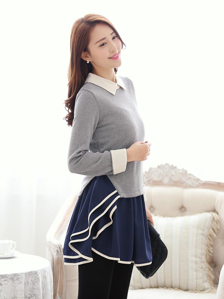 2014春装新款韩版时尚女装翻领荷叶边修身 连衣裙B322图片三