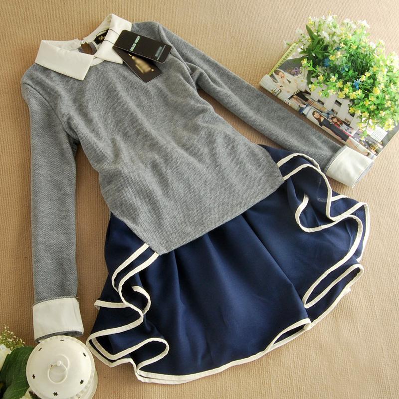 2014春装新款韩版时尚女装翻领荷叶边修身 连衣裙B322图片五