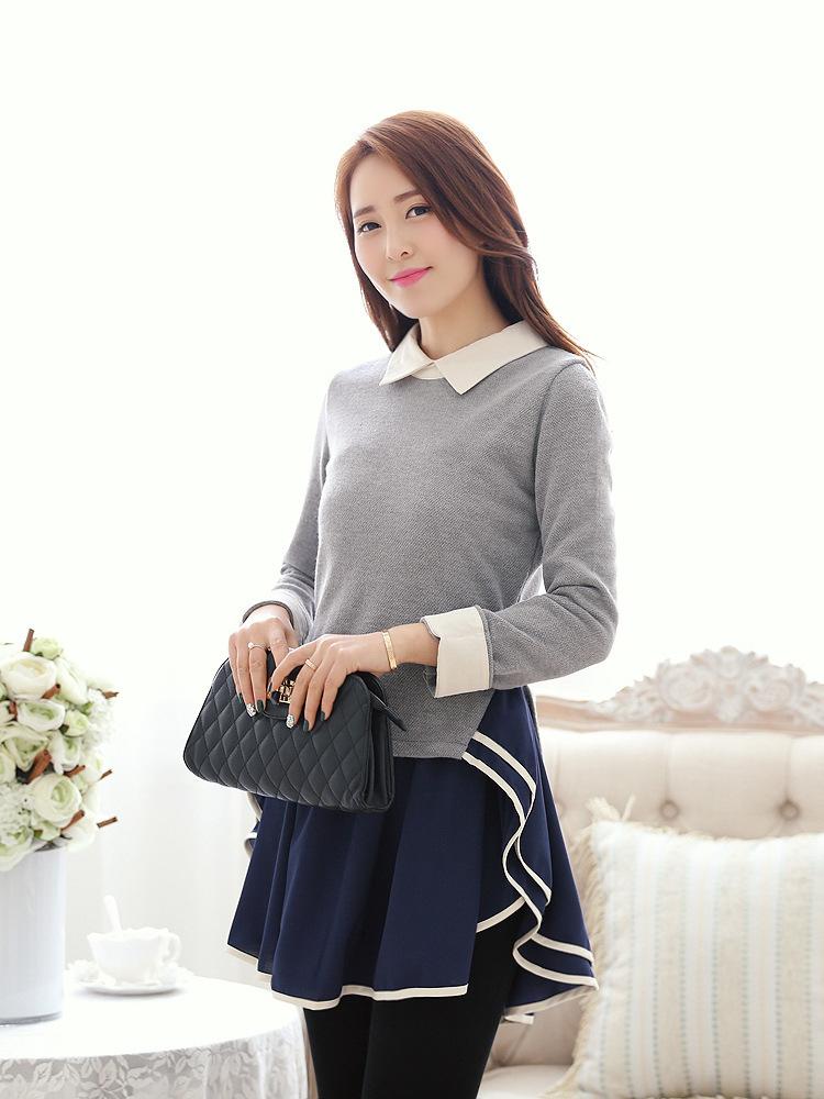 2014春装新款韩版时尚女装翻领荷叶边修身 连衣裙B322图片二