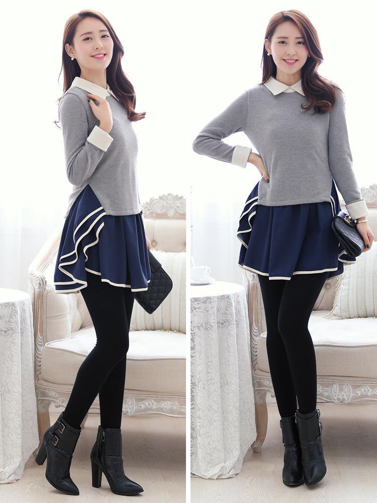 2014春装新款韩版时尚女装翻领荷叶边修身 连衣裙B322图片四