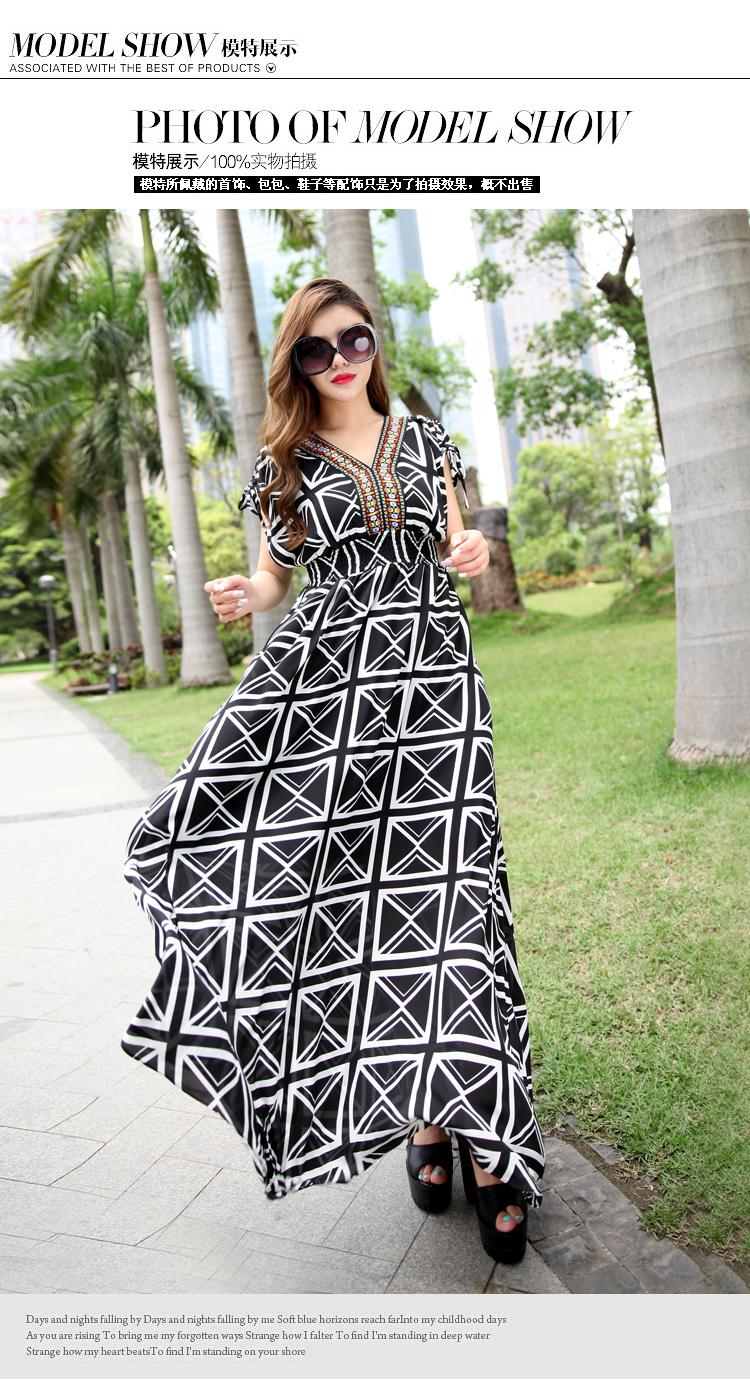 实体夏季热销2014欧洲站 品牌女装波西米亚 连衣裙A395图片五