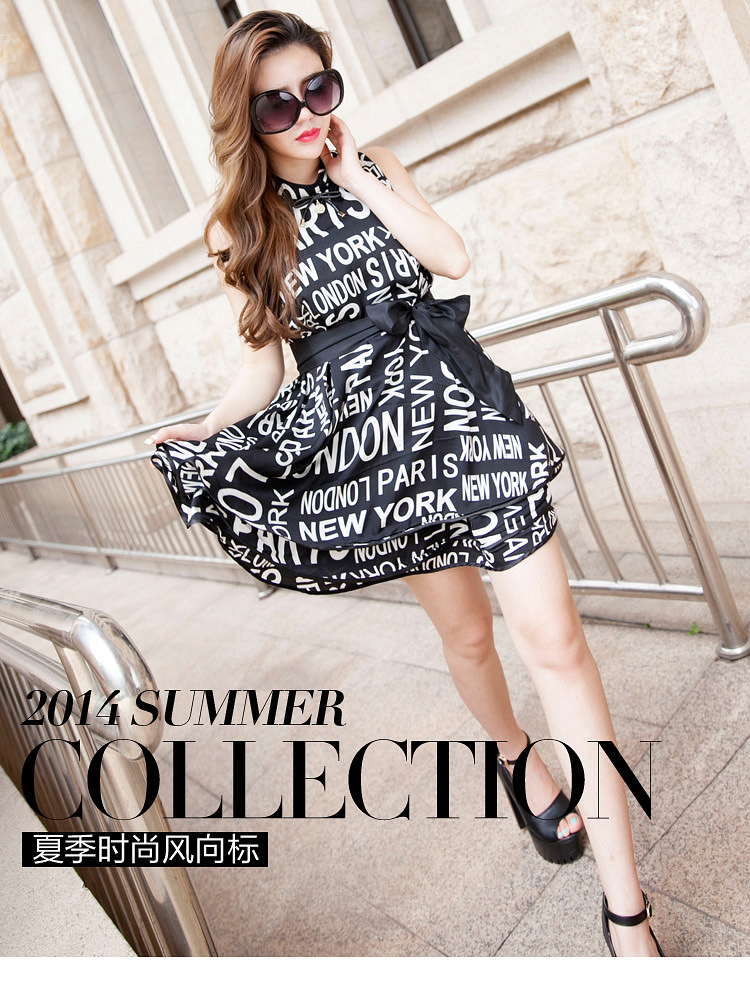 厂家热销欧美夏季原创时尚女装新款印花 品牌连衣裙A389图片一