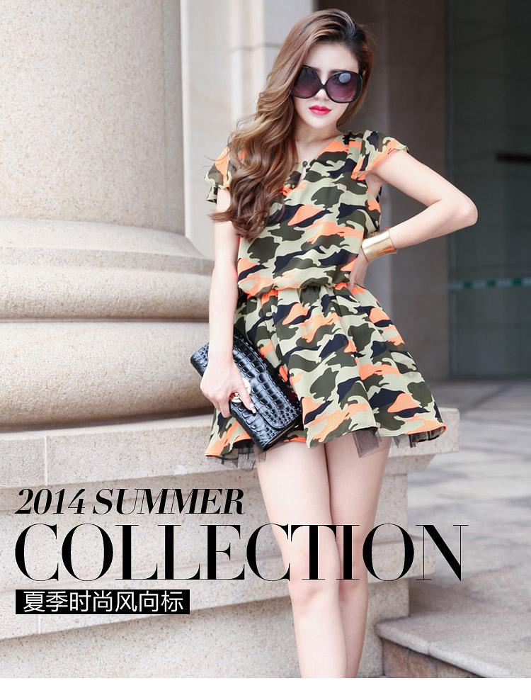 清凉夏季欧洲站女装原创设计迷彩雪纺新款 品牌连衣裙A388图片一