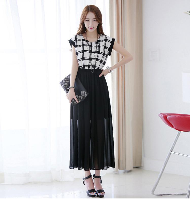 品质女装批发条纹圆领中长裙子 夏季雪纺连衣裙B399图片六