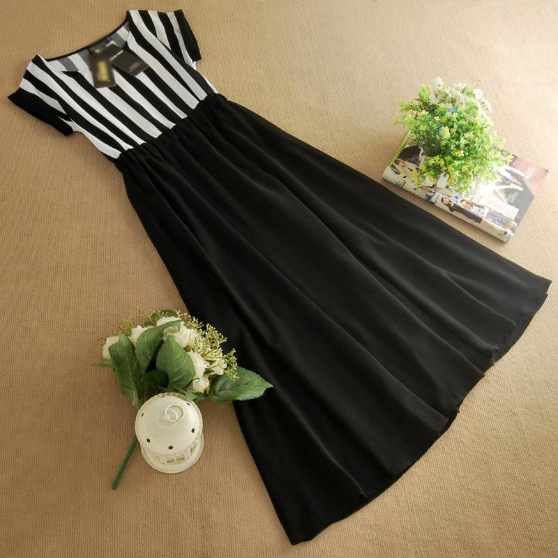 品质女装批发条纹圆领中长裙子 夏季雪纺连衣裙B399图片八