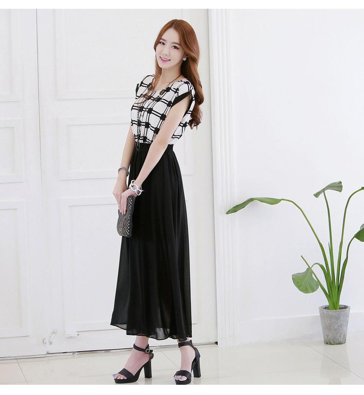 品质女装批发条纹圆领中长裙子 夏季雪纺连衣裙B399图片七