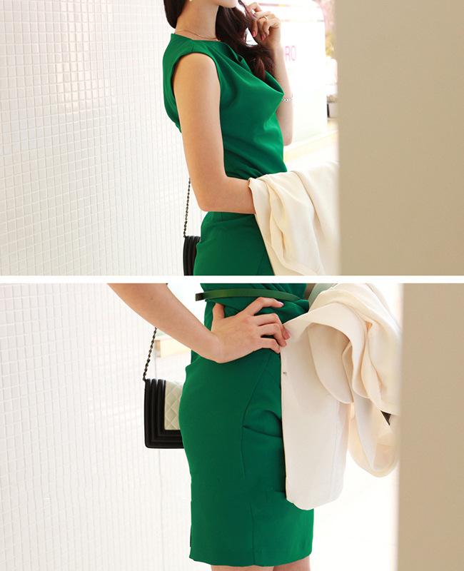 一手货源2014韩版夏季新款OL雪纺 品牌连衣裙B383图片三