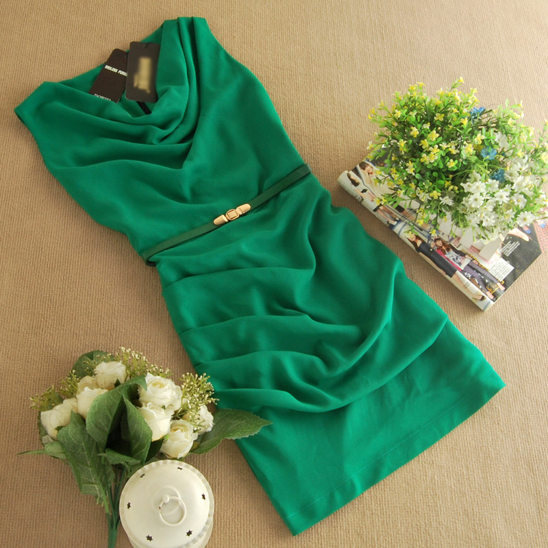一手货源2014韩版夏季新款OL雪纺 品牌连衣裙B383图片五