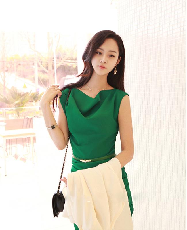 一手货源2014韩版夏季新款OL雪纺 品牌连衣裙B383图片二
