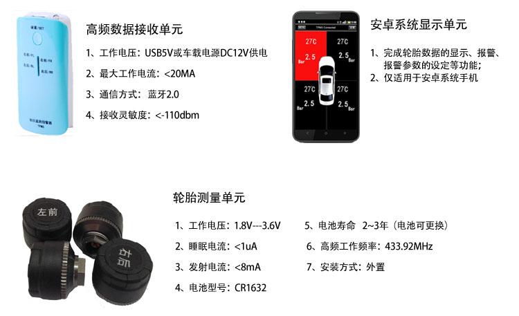 全网首款胎压监测手机蓝牙互联四轮胎压监测图片八