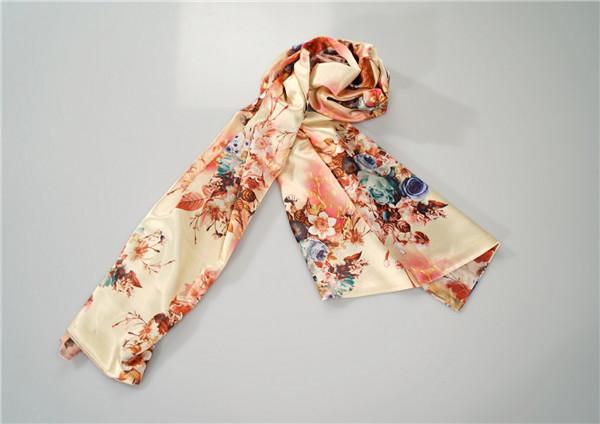 鸿乐水印花面料100%桑蚕丝丝巾复古风围巾披肩图片八