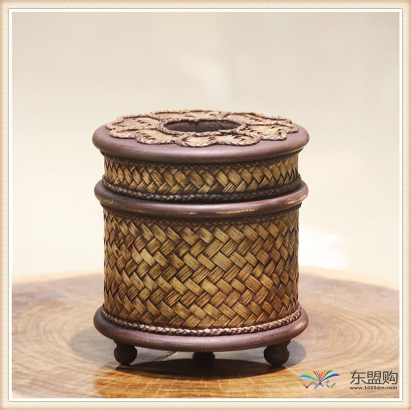 泰国 圆形竹编纸筒 0202648图片二