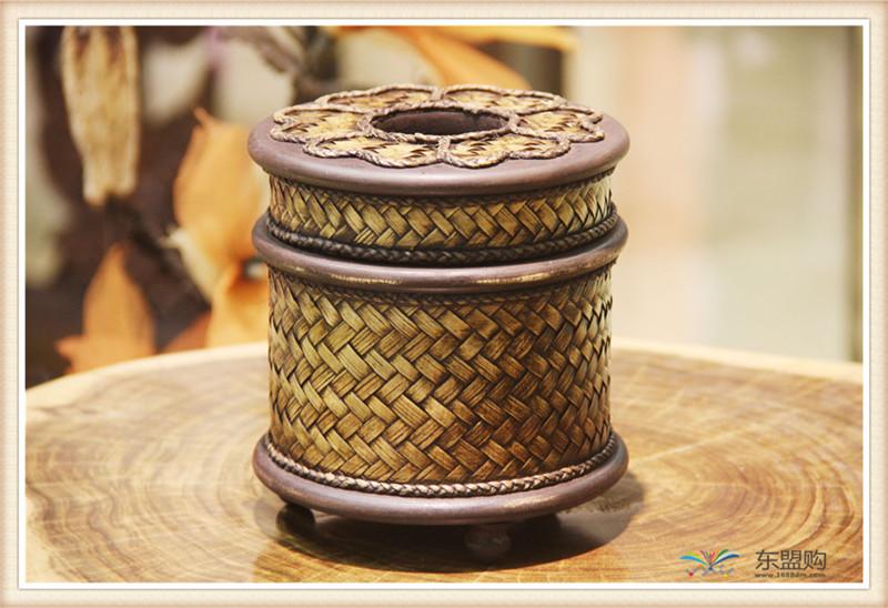 泰国 圆形竹编纸筒 0202648图片三