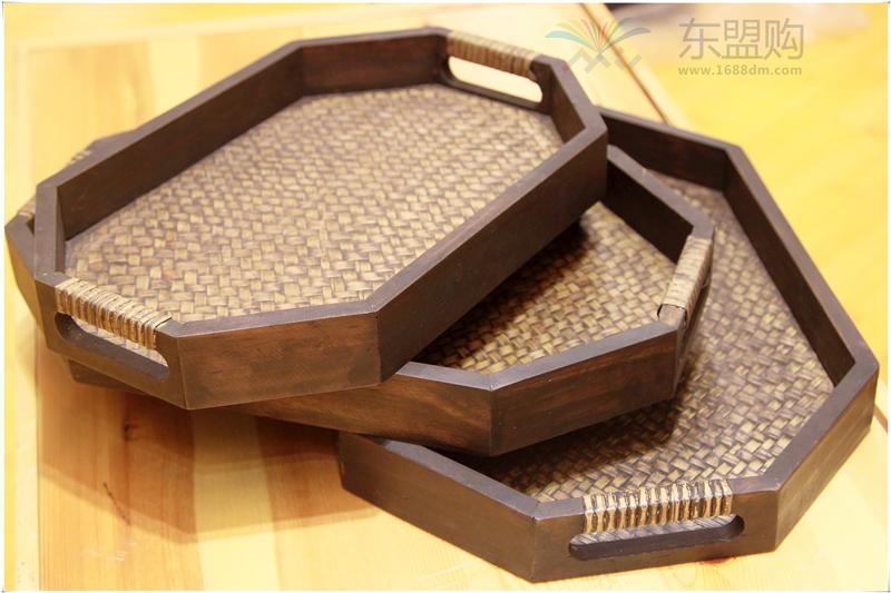 泰国 泰式创意家居装饰竹制套装竹编托盘 0202203图片五