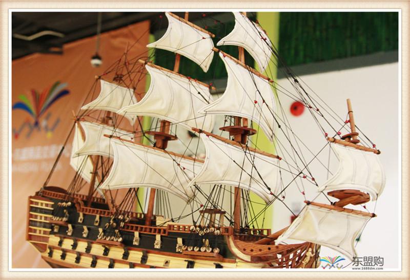 越南 一帆风顺 实木帆船摆件  0206021图片六